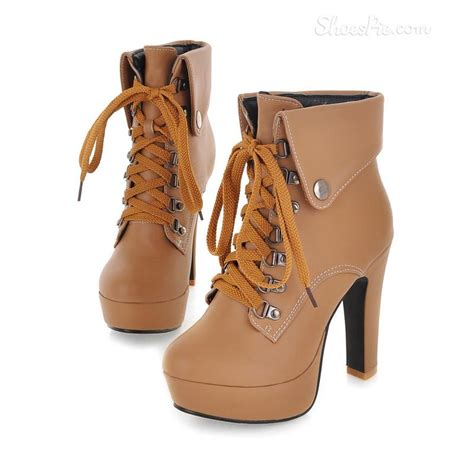 eurameriacn style apricot lace up chunky heel boots