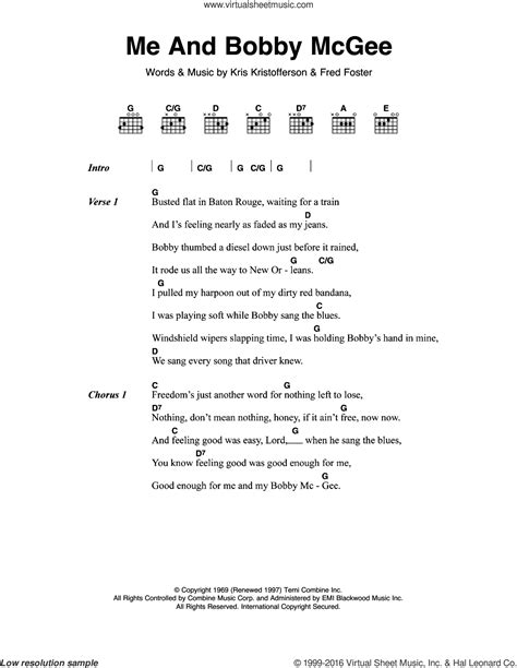 joplin   bobby mcgee sheet   guitar chords