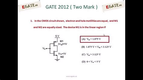 mosfet gate resistor equation problem on operating region of mosfet gate ece 2012 solved paper electron devices