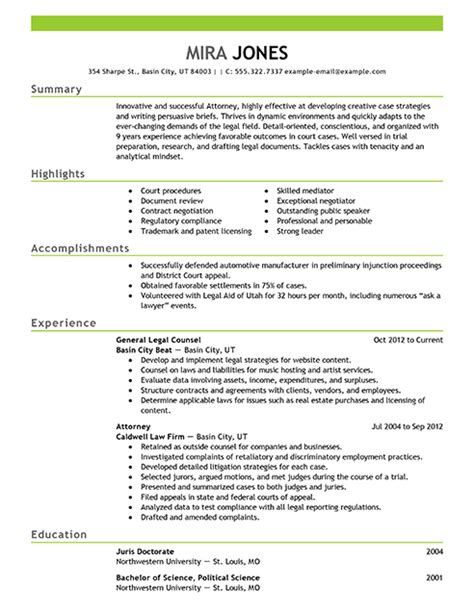 Lawyer Resume by Best Lawyer Resume Exle Livecareer