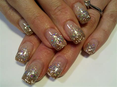 Glitzernde Nägel by Sparkle Silver And Gold Glitter Gel Nails My Work