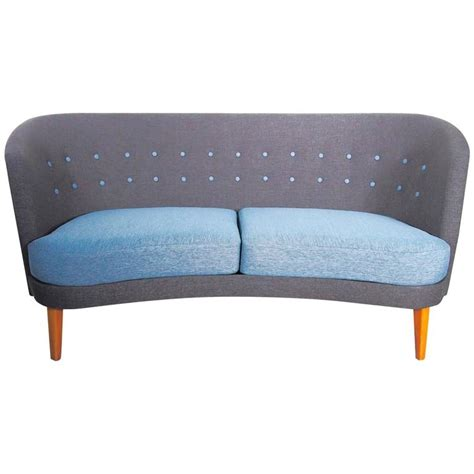 Mid Century Modern Slightly Curved Blue Sofa For Sale At Modern Blue Sofa