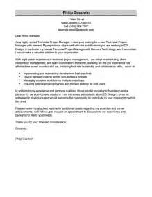 project cover letter sle technical project manager cover letter exles