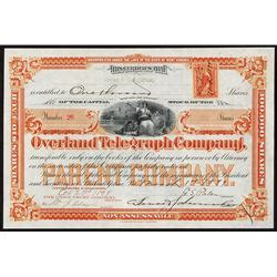 overland cer overland telegraph co 1899 issued stock certificate