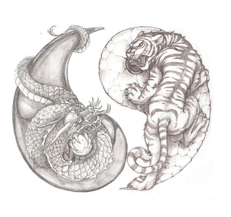 dragon yin yang tattoos awesome tiger and yin yang idea
