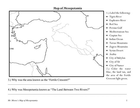 mesopotamia map coloring page printables mesopotamia worksheets messygracebook