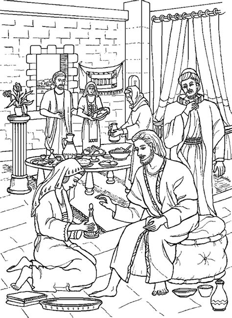 Wedding At Cana For Ks1 by Coloring Page Anointing The Of Jesus Bible