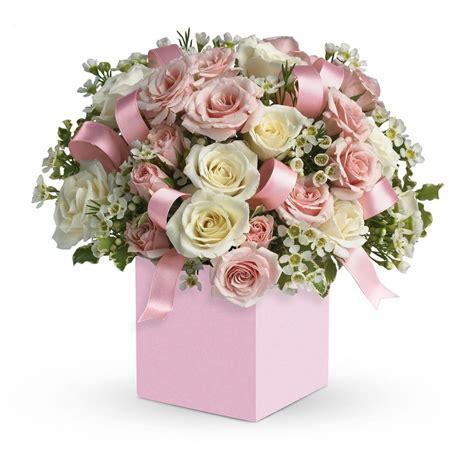 baby flower baby flower arrangement boxed arrangement of pink