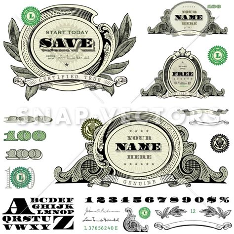 money dollars and design elements vector 14 free vector money font images design free vector