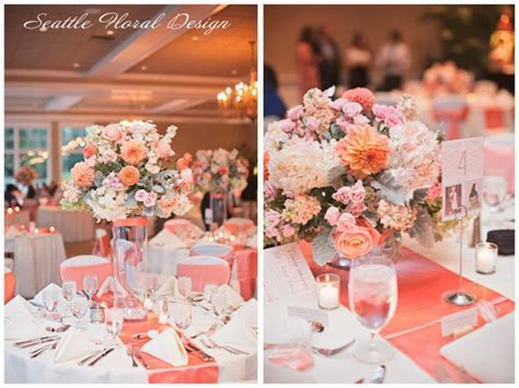coral wedding ceremony   Coral anthorium for a head table