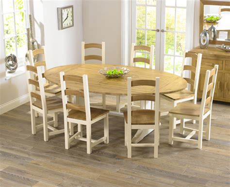 Farmhouse solid oak cream oval extending dining table and