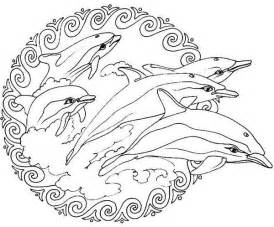 Animal Flippers Jumping From The Sea Mandala Coloring Pages sketch template