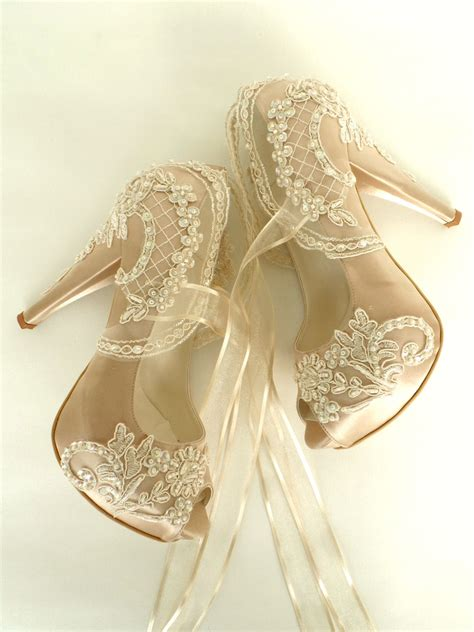 Lace Up Bridal Shoes by Wedding Shoes Chagne Embroidered Lace Bridal Shoes