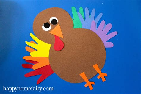 Make A Paper Turkey - thankful handprint turkey craft free printable happy
