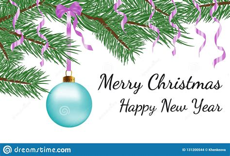 merry christmas happy  year greeting card design  vector realistic blue glass christmas