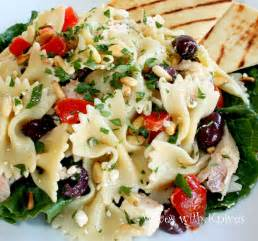 Greek Pasta Salad greek chicken pasta salad wives with knives