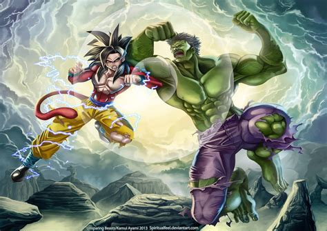 imagenes de goku vs hulk unsparing beasts goku vs hulk by spiritualfeel on deviantart