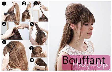 half up bouffant retro hairstyle tutorial casual