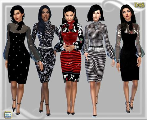 design clothes sims 4 designer look bow dress at dreaming 4 sims 187 sims 4 updates