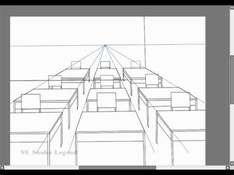 Drawing 1 Class In College by 1 Point Perspective Class Room 001
