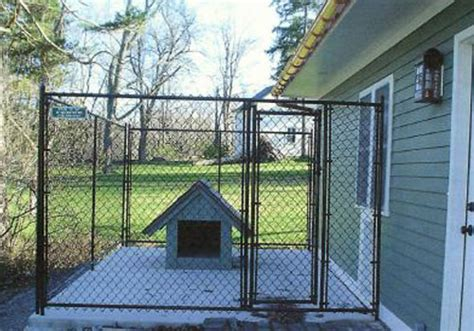 dog house with attached kennel residential chain link dog kennel enclosure fencing buffalo ny wny