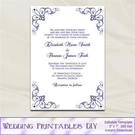 silver wedding invitations templates navy wedding invitation template diy blue silver birthday