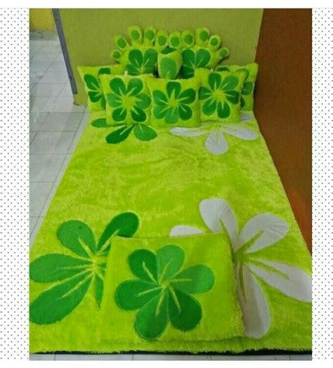 Surpet Set Bantal 2 Guling 1 jual karpet bulu rasfur motif bunga hijau zuheman grosir