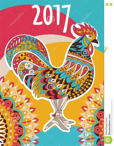 new year 2017 animal element rooster symbol on the calendar 2017 new year
