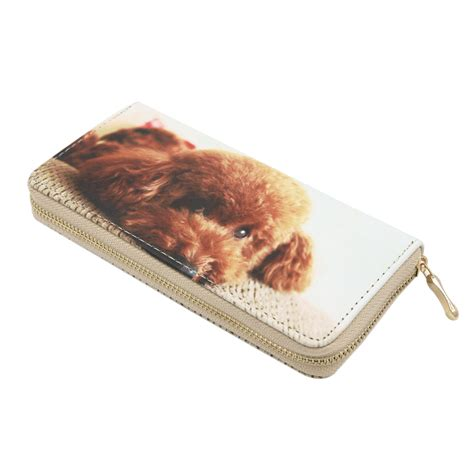 Premium Zipper Dogs bags purses wallets premium poodle puppy animal print pu leather zip around