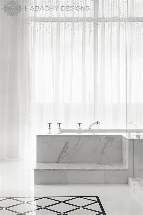 Marble Steps to Tub   Contemporary   Bathroom