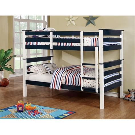 furniture of america bunk beds furniture of america leuan twin over twin bunk bed in blue