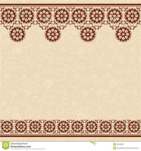 brown floral pattern border beige vector seamless background with floral borde stock