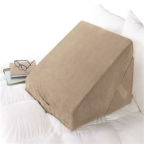 bed wedge pillow brookstone 174 4 in 1 bed wedge pillow in brown bed bath