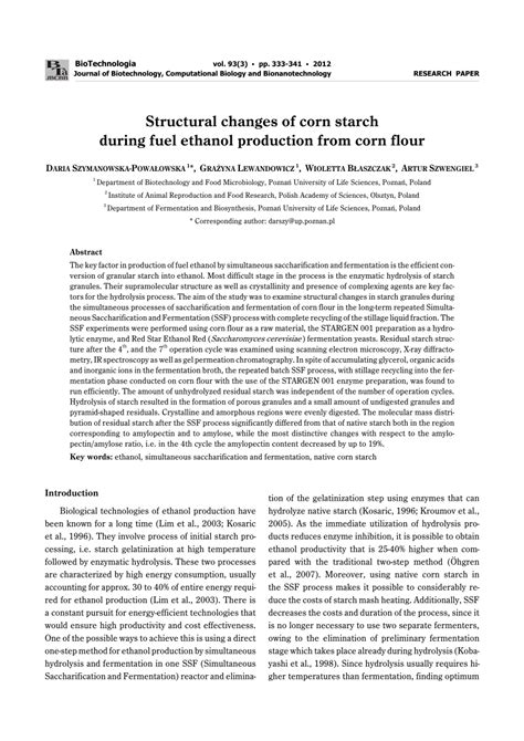 maize research papers structural changes of corn starch during pdf