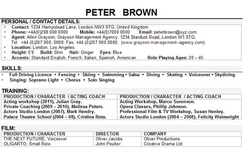 actor cv sample
