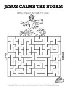 jesus calms the coloring page jesus calms the bible mazes with just enough