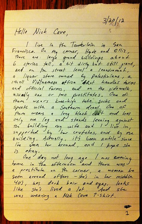 Letter Nick Cave Letter To Nick Cave A Story From Hyde And Ellis Justin J Allen