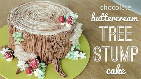 Relaxing cake decorating: all buttercream tree stump cake