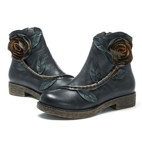 Boots Zipper 2018 2018 socofy handmade ankle leather boots comfy floral zipper winter shoes ebay