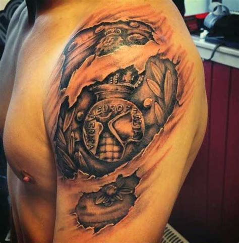 tattoos on upper arm for men 50 ripped skin designs for manly torn flesh ink