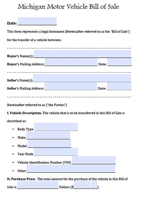 michigan boat bill of sale pdf free michigan motor vehicle bill of sale form pdf word