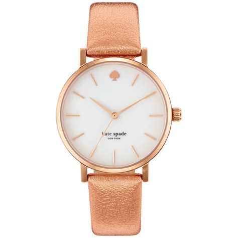 kate spade new york womens metro rose leather strap watch 34mm in pink rose lyst