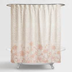 Gray Floral Curtains Gray And Blush Floral Fiona Shower Curtain World Market