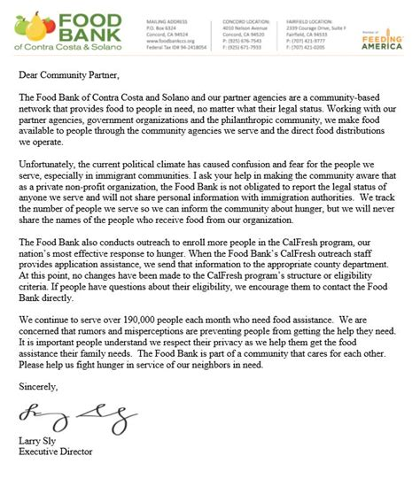 Commitment Letter For Volunteers Food Bank S Statement Regarding Commitment To