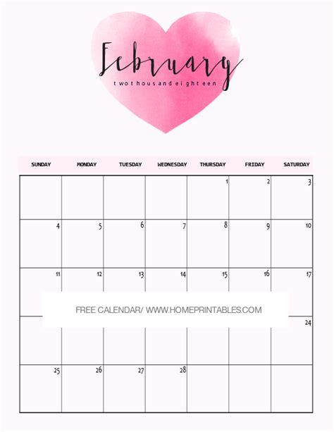 Calendar 2018 Valentines Day February 2018 Calendar Printable 10 Free Choices Home