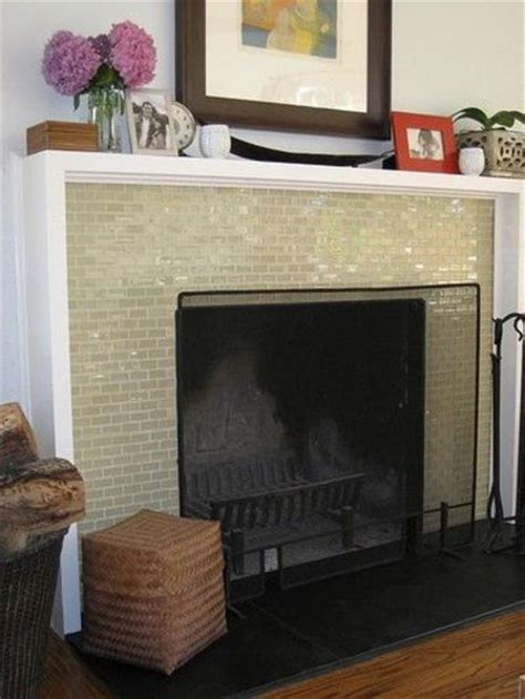 Glass Mosaic Tile Fireplace by Shadowbox Mantel Glass Mosaic Tile Fireplace Surround