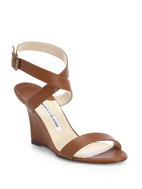 manolo blahnik sandals lyst manolo blahnik lecara wedge sandals in brown