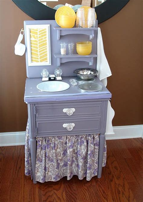 play kitchen from furniture repurposed nightstand into a toddlers play kitchen pic