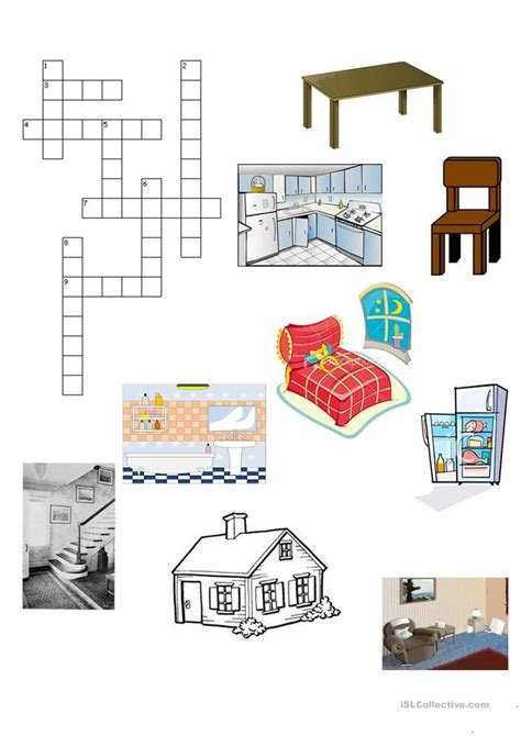 the house crossword worksheet free esl printable