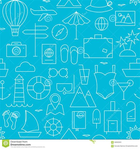 design a dream vacation webquest summer holiday seamless pattern vector illustration